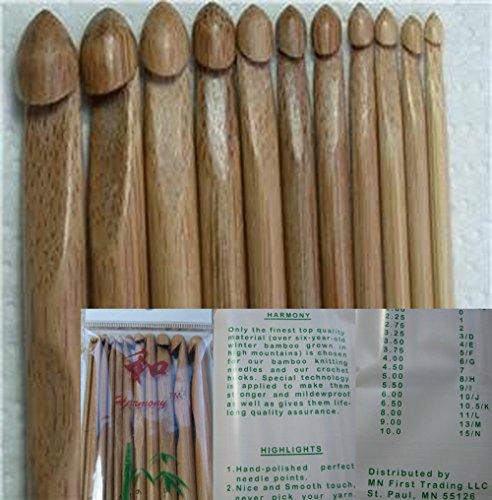 One set of 13 PCs bamboo crochet hooks US 2/C (2.75 mm)-US 15/N (10 mm)