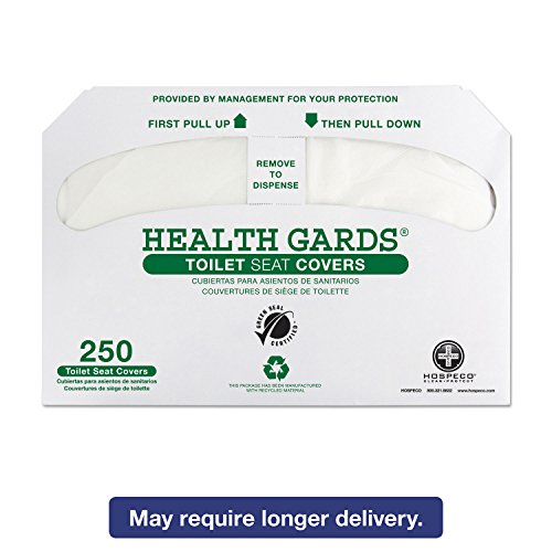 Hospital Specialty Co. GREEN1000 Health Gards Recycled Toilet Seat Covers White 250/PK 4 PK/CT by The Tranzonic Companies Dba