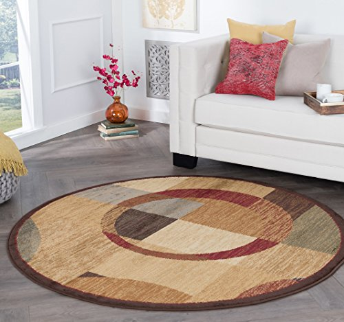 Kelsey Contemporary Geometric Multi-Color Round Area Rug, 8' Round