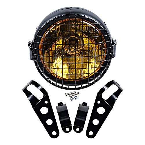 Carbon Works Swing Arm - Set 6-1/2'' Round Amber Lens Headlight + Metal Mesh Grille Cover + 35mm-43mm Headlamp Mount Brackets