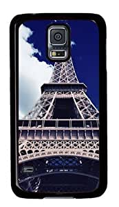 Rugged Samsung Galaxy S5 Case and Cover - Blue Sky Eiffel Tower Custom Design PC Case Cover for Samsung Galaxy S5 - Black