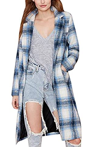 Lingswallow Women Blue One Button Plaid Wool Long Trench Coat Polo Jacket Blazer