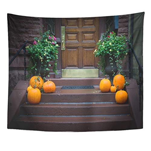 Emvency Wall Tapestry Orange Autumn Tasteful Pumpkins on