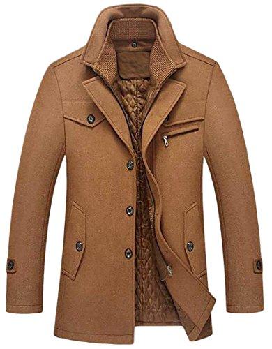 Pandapang Men's Stylish Thicken Warm Stand Collar Wool Blend Pea Coat Camel M -