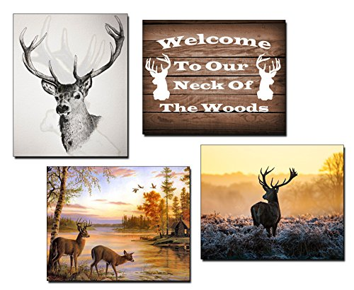 Deer Hunting Photos/Prints (4 pack) - Hunting Room/Garage Decor