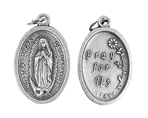 Guadalupe Medal - Lot of 12 - Oxidized Silver Tone Our Lady of Guadalupe Medals - 1 Inch