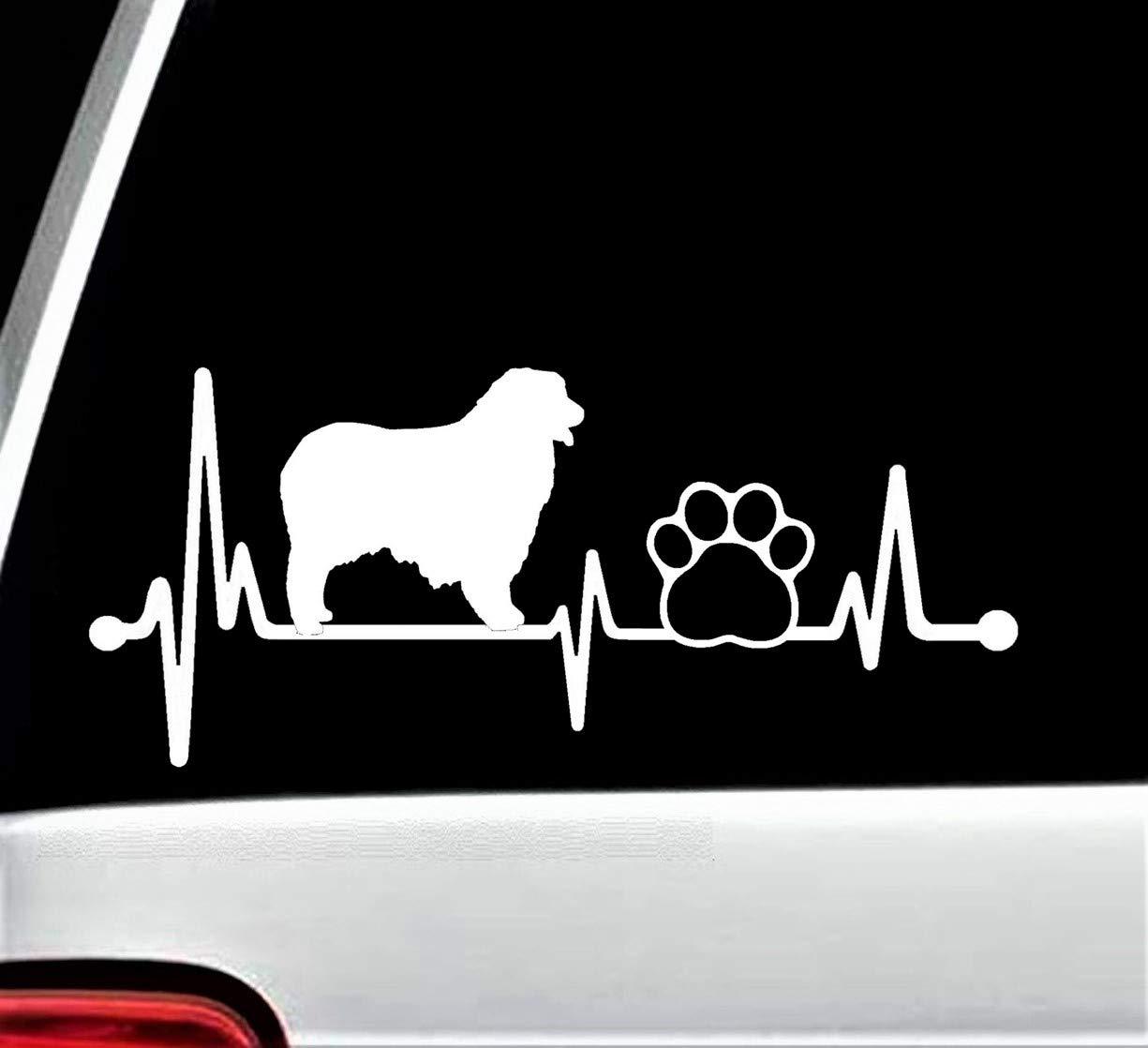 Aussie Australian Shepherd Dog Paw Heartbeat Lifeline Decal Sticker for Car Window BG 141
