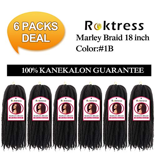 Roktress Marley Braids Hair 100% Kanekalon Synthetic Fiber Twist Crochet Marley Hair 65g/Pack (18