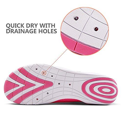 BTDREAM Männer und Frauen Quick-Dry Barfuß Wasser Haut Schuhe Aqua Socken mit Drainage-Loch für Beach Swim Surf Rose