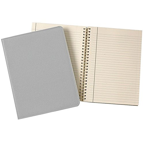 Wire-O-Notebook 9in GREY Fine Leather by Graphic Image™ - 7x9 by Graphic Image