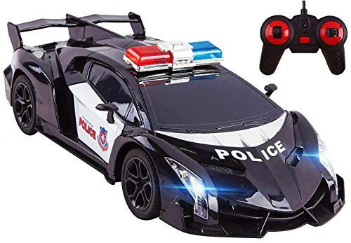 Vokodo Police RC Car Super Exotic Large 1:16 Scale Size Kids Remote Control Easy to Operate Toy Sports Cars with Functional LED Headlights Perfect Cop Race Vehicle Full Function (Black)