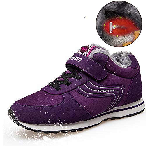 Warm Plush Father Cotton Middle Shoes Outdoor Purple Old Plus Women Hair Winter aged Mother And 5nTtT7Yxv