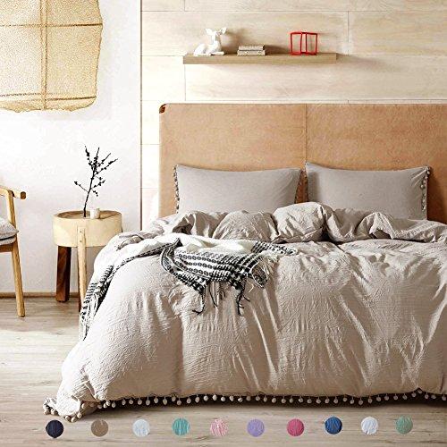 Pom Poms Duvet Cover Set Polyester Queen Size Khaki 3 pcs(1 Duvetcover and 2 Pillowcases) Meaning4 - Full Khaki