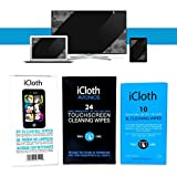 iCloth Combo Cleaning Wipe Pack | 30 Small-Screen and Lens - 24 Large - 10 XL pre-moistened and individually sealed - approved for optical clarity | iC102430