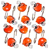 Cleveland Browns NFL Football Set of 12 Bathroom Shower Curtain Hooks Rings