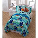 5 Piece Blue Kids Finding Dory Themed Comforter with Sheets Twin Set, Funny Nemo, Dory Caracter Print, Animated Movie Finding Nemo Bedding, Deep Sealife Graphic Cartoon Reversible Theme Pattern, Multi