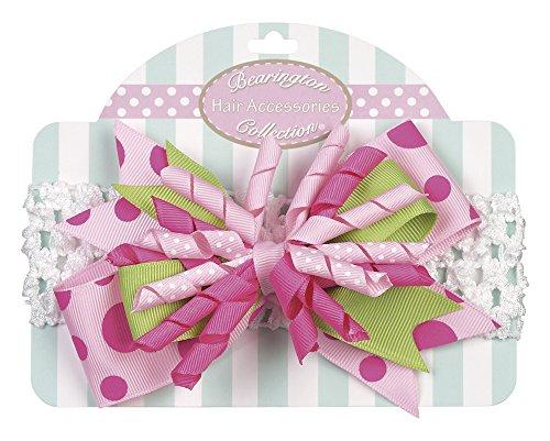 Bearington Baby Pink Party Celebration Bow on Crochet Headband