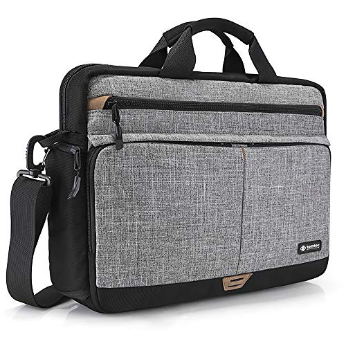 tomtoc Shoulder Bag, Messenger Bag for 15.6 Inch Laptop MacBook with Anti-Shock Laptop Compartment Multifunctional Briefcase Fits 15.6 Inch HP Dell Acer Lenovo Asus Samsung Notebook Tablet, Gray (Messenger Bag For Notebook)