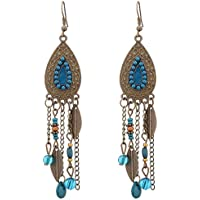 A.Yupha Beauty Earrings : 1Pair Vintage Boho Women Leaf Tassel Water Drop Long Hook Dangle Earrings Gifts (Blue)