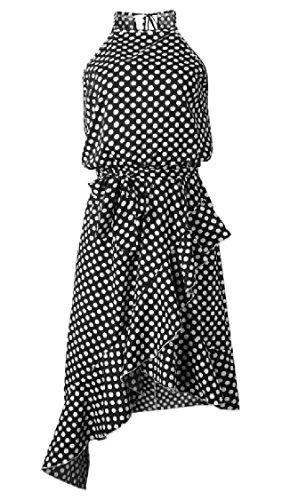 Coolred-femmes Strappy Occasionnel Impression À Pois Irrégulière Robes Taille Élastique Noir