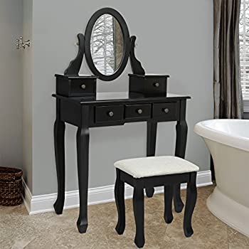 Amazon Com Bobkona St Croix Collection Vanity Set With Stool Black Kitchen Amp Dining