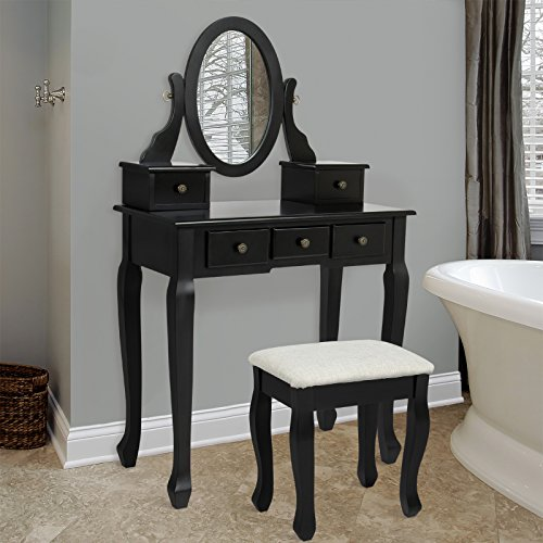 Bathroom Vanity Table Jewelry Makeup Desk Bench Drawer Hair Import It All