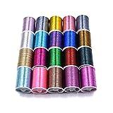 20 Spools Assorted Colors Flash Tinsel Thread Fly Tying Materials (20 Spools Mixes Colors)