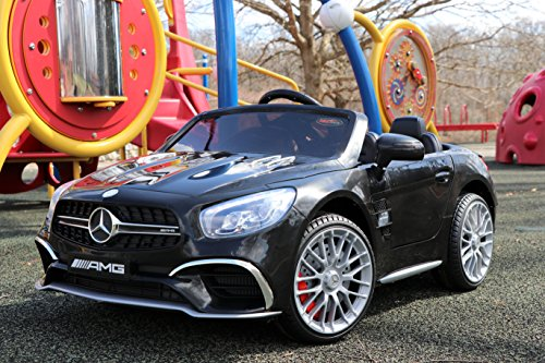 First Drive Mercedes Benz SL Black 12v Kids Cars - Dual Motor Electric Power Ride On Car with Remote, MP3, Aux Cord, Led Headlights, and Premium Wheels