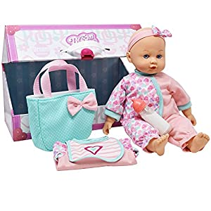 """14"""" Baby Doll Travel Carry Case Set, Adorable Doll comes Dressed in Clothes, Diaper and Headband, includes Baby Doll Diaper Bag Set, Extra Jacket, Bib, and Milk Bottle Accessories"""
