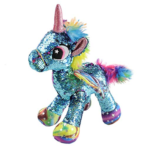 (Athoinsu Flip Sequin Stuffed Unicorn Plush with Reversible Glitter Sequins Sparkle Gifts for Kids Friends Sensory Toy, Blue, 13'')