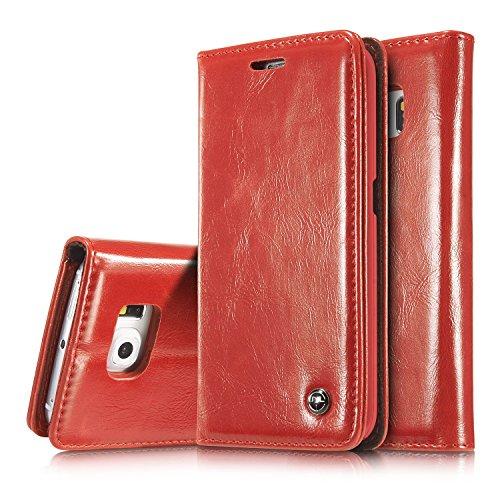 GR Para Samsung Galaxy S6 Edge Luxury Business Style Color sólido PU Cartera de cuero Flip Folio Funda protectora con Ranura para tarjeta / Soporte ( Color : White ) Red