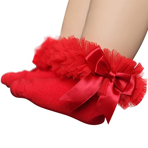 Feitengtd Baby Child Girl Cotton Bow Lace Socks Frill Trim Pedal Socks (Red, S)