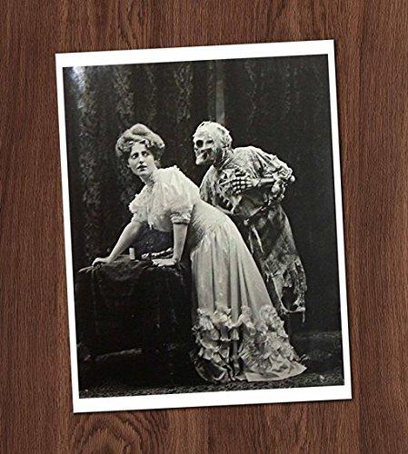 Creepy Death and the Lady Vintage Art Photo 8x10 Wall Art Halloween Decor -