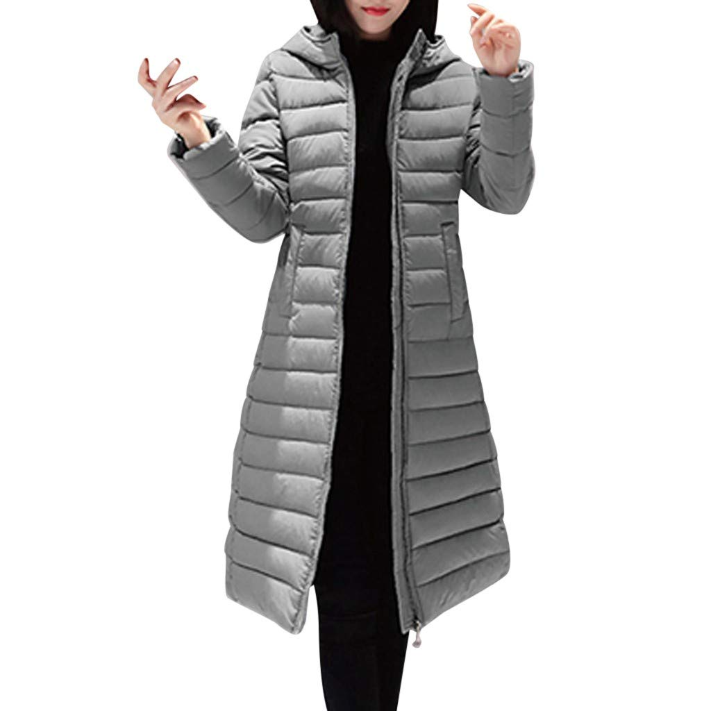 Dainzuy Women's Long Down Coat Winter Cotton Padded Casual Slim Fit Zip Hooded Outwear Down Parka Puffer Jacket Gray by Dainzuy Womens Outerwear