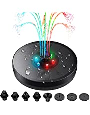 3W Solar Water Fountain with LED Lights, Dr.meter 6.3in(16cm) Solar Powered Water Pump Floating Fountain with 8 Nozzles for Bird Bath Fish Tank Pond or Garden Decoration Solar Aerator Pump