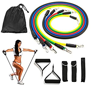Koncle Resistance Bands Set, Workout Bands and Rehab Bands, Heavy 5 Stackable Exercise Bands Fitness Bands with Door Anchor, Ankle Strap, Resistance Loop Bands for Home Gym