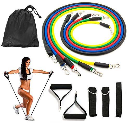 Reehut Resistance Band with Handle Single Exercise Tube for Arm /& Shoulder w//Door Anchor and Manual