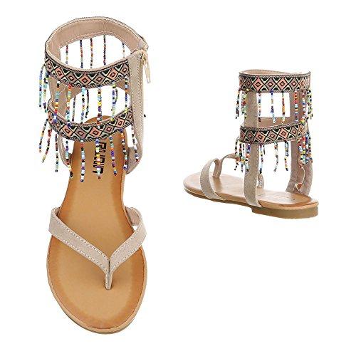 sandaletten Reißverschluss Peep-toe Zehentrenner Ital-design Sandalen Damenschuhe Beige Blockabsatz