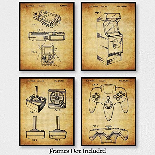 Original Video Games Patent Art Prints – Set Of 4 (Four) 8×10 Unframed – Wall Decor For Gaming Room, Man Cave, Boy's Room – Great Gift For Gamers