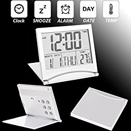 Large Digital LCD Folding Travel Alarm Clock with Thermometer Calendar Timer New