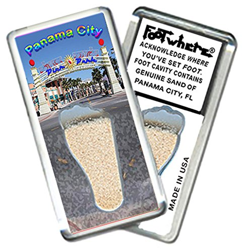 "Panama City, FL ""FootWhere"" Souvenir Fridge Magnet. Made in USA (PC206 - Pier - Panama Pier City In"