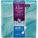 Poise Thin-Shape Incontinence Pads, Moderate Absorbency, Regular, 66 Count (Pack of 4)