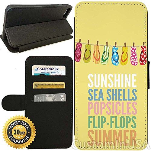 Flip Wallet Case for iPhone 8 (Summer Time Flip Flops) with Adjustable Stand and 3 Card Holders | Shock Protection | Lightweight | Includes Free Stylus Pen by Innosub (Flop Holder Flip Card)