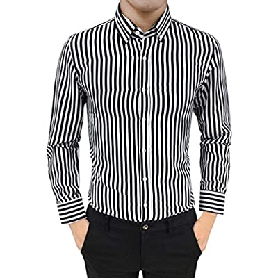 Halloween Promotion! Sale! Teresamoon Mens Suit Fit Long Sleeve Button Striped Down Dress Shirts Tops Blouse