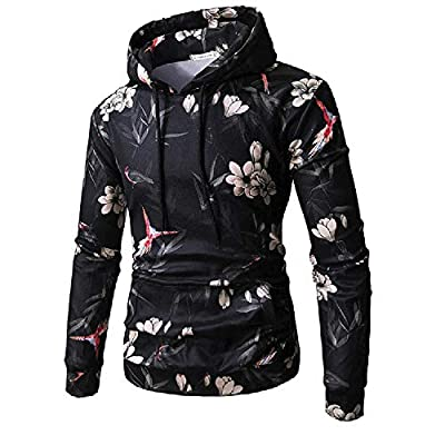 Birdfly Men's Fall Winter Fashion Hoodie 3D Bird Floral Digital Printing Younth Pullover Hood