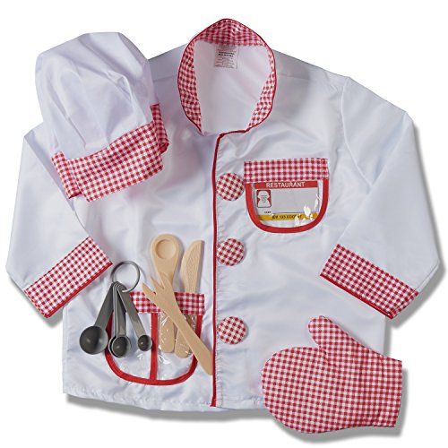 Child's Halloween Chef Role Play Costume Set, Chef's Jacket, Hat, Oven Mitt, (Play Costumes)