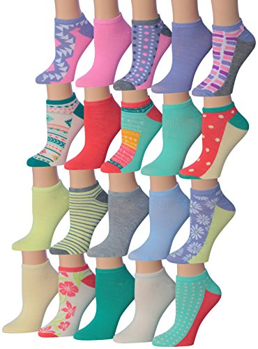 Tipi Toe Women's 20 Pairs SUMMER Fashion Trends Colorful No Show Socks Low Cut Socks, (sock size 9-11) Fits shoe size 6-9, - Women In Fashion Trends Latest For