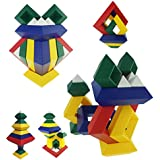 Magical Pyramid Building Block Set | Diamond Shaped Intellectual Brain Puzzle | a Creative and Educational STEM Toy for Preschool Kids Boys and Girls age 4 5 6 Year Old! Stack it! Nest it! Lock it!
