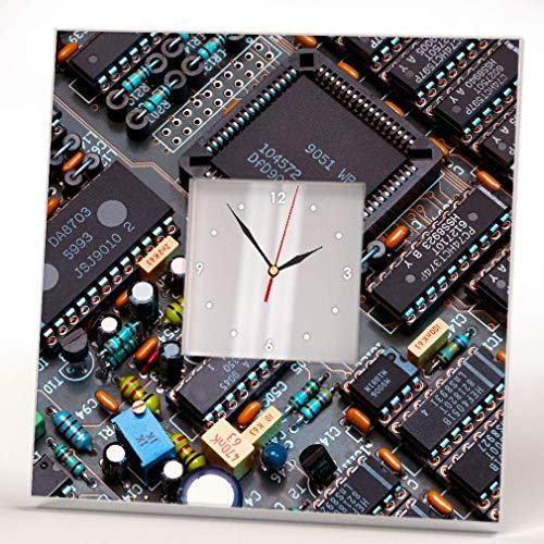 Computer Chip Circuit Motherboard Board Wall Clock Framed Mirror Print Design Art Home Decor Gift ()
