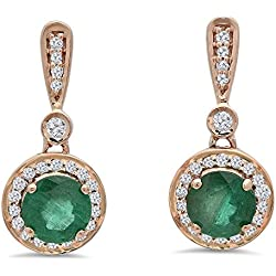 14K Rose Gold Round Green Emerald & White Diamond Ladies Halo Style Dangling Drop Earrings